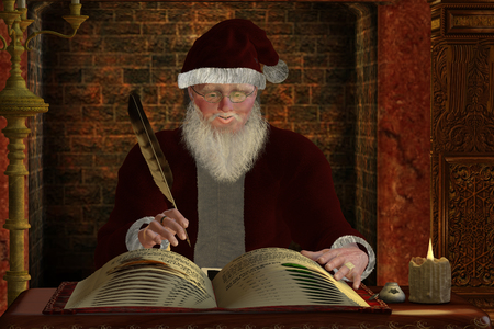 Santa Claus - Santa Claus writes in his gift list for the coming winter holiday Christmas season.