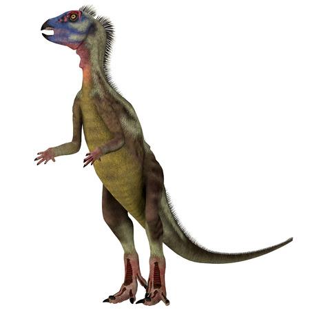 Hypsilophodon Dinosaur on White - Hypsilophodon was a omnivorous ornithopod dinosaur that lived in England during the Cretaceous Period. Stock Photo