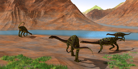 Anchisaurus Dinosaurs - Prosauropod Anchisaurus dinosaurs gather together to keep watch for predators and get a drink of water during the Jurassic Period.