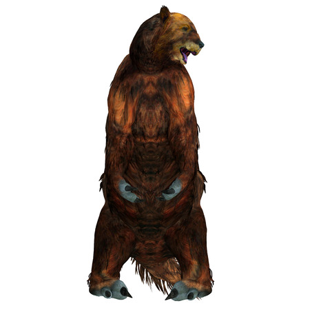 Megatherium Sloth Sitting - Megatherium was a herbivorous Giant Ground Sloth that lived in Central and South America during the Pliocene and Pleistocene Periods. Stock Photo