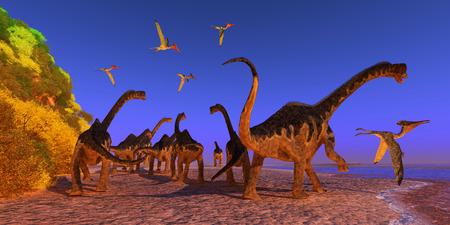Europasaurus Dinosaurusstrand - Een Pterodactylus-reptiel vliegt te dicht bij een Europasaurus-dinosauruskudde die tijdens de Jura over een strand loopt.