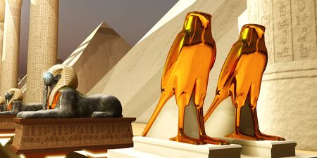 Egyptian Falcons - The Falcon statues represent the Egyptian god Horus as the protector and ruler of Egypts dynasty.