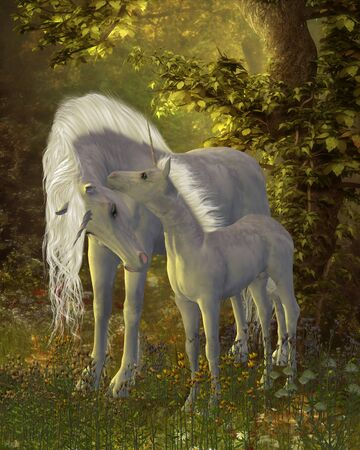 Unicorn Bonding - A white Unicorn mare shows her affection for her little colt in a magical forest full of legendary creatures.