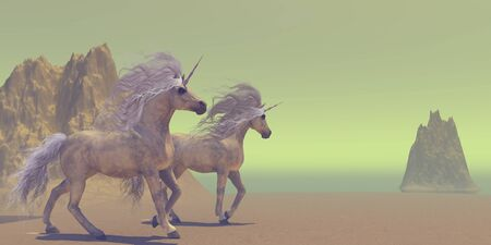 Two Unicorns - The Unicorn is a divine white horse that is legendary for having a single horn on their foreheads.
