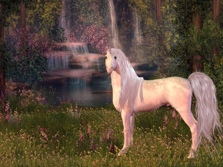 Unicorn and Waterfall - A magical white Unicorn stallion stands in front of a forest pond with waterfalls of gleaming water.
