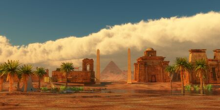 Ancient Egyptian City - A legendary Egyptian city in the desert next to the Nile river full of buildings and a pyramid.