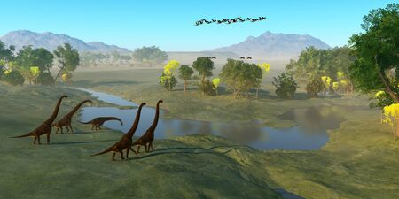 A flock of Archaeopteryx birds fly over a herd of Giraffatitan dinosaurs as they reach a river to drink. Imagens
