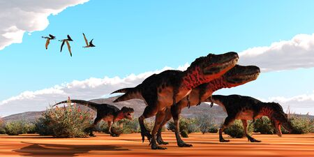 A flock of Thalassodromeus pterosaurs fly over a group of theropod Tarbosaurus dinosaurs on the hunt for prey.
