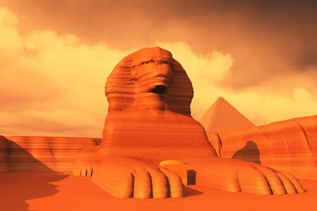 The Sphinx statue on the Giza Plateau in Egypt is a famous sculpture with a lions body and a pharaohs head. Stock fotó