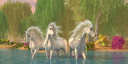 A unicorn stallion and two mares cool off in a summer stream bordered by willow trees and flowers. Stock Photo - 135053708