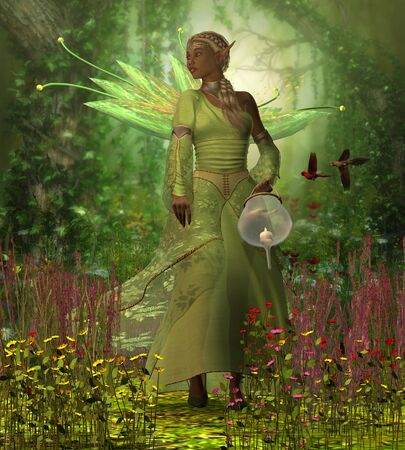 Fairy Lamp - A fairy holding a candle lamp takes a walk in the magical forest full of flowers and wild Cardinal birds.