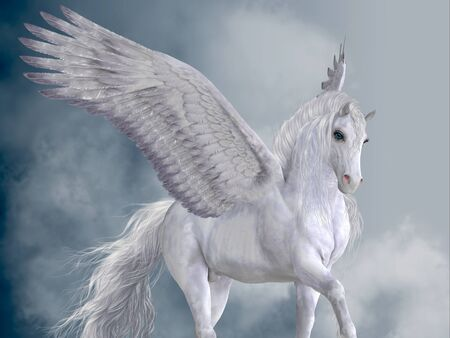 Marvelous White Pegasus - The Pegasus horse is a magical winged creature who is legendary from Greek mythology. Banco de Imagens