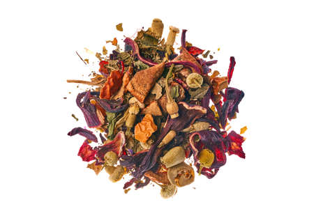 Tea made from wild raspberries and mint with calendula petals, lemon balm, camomile flowers, leaves, currants, apples and hibiscus