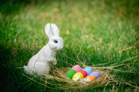 The garden decorated white rabbit with colorful easter eggs on green grass background Banque d'images