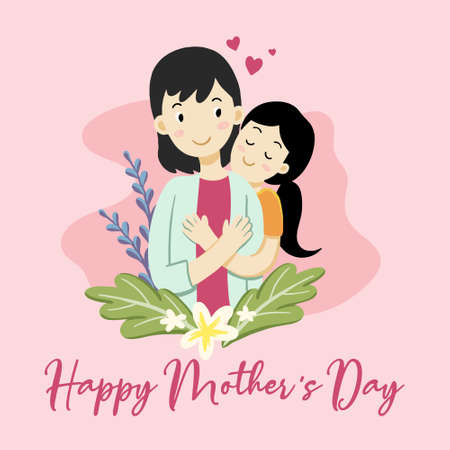 Mothers Day Cartoon cute adorable mother and baby flat . Premium Vector