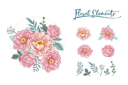 Rose floral decoration realistic 2d flower bouquet Vector