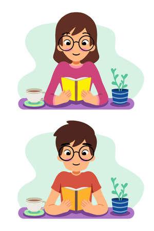 Boy and girl read book cute vector illustration Ilustração