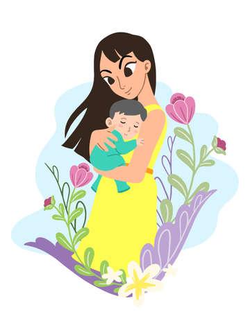 Cartoon cute adorable mother and baby flat . Premium Vector Foto de archivo - 146546144