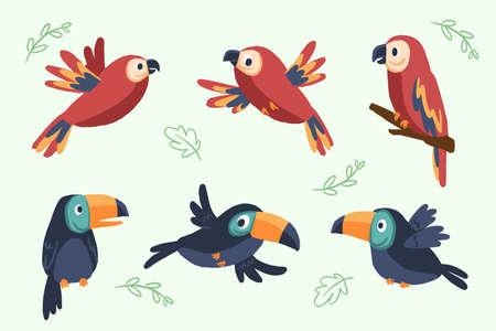 Cartoon tropical birds pattern premium vector illustration Vectores