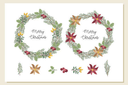 Christmas wreath decorative plant vector illustration Vectores