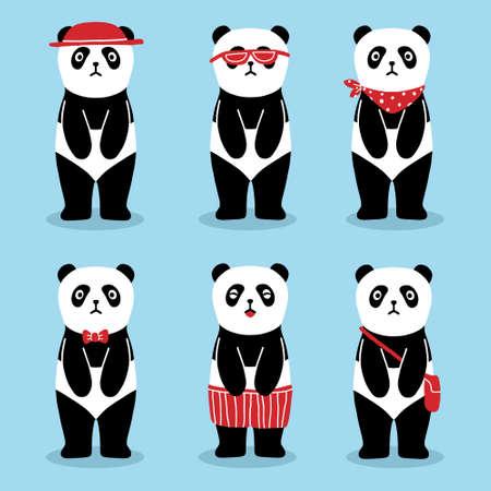 Cute fashion panda cartoon animals pattern Premium Vector Foto de archivo - 146546146