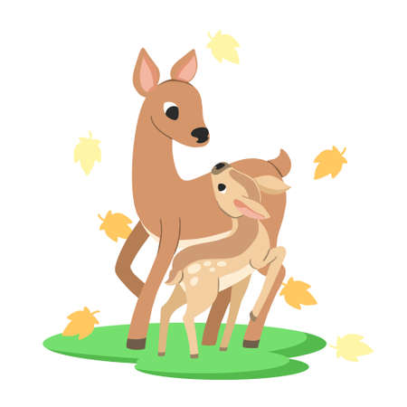Cute mother and baby deer cartoon vector illustration