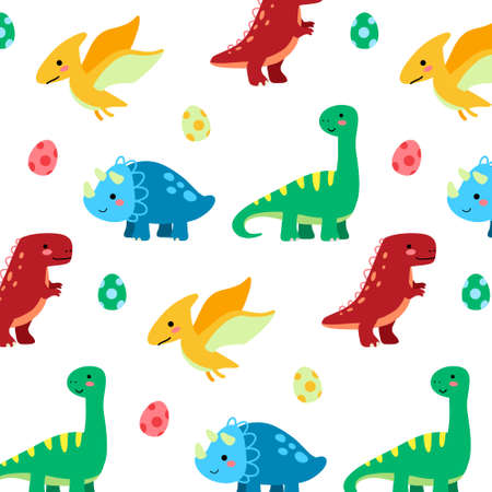 Flat dinosaurs and egg seamless pattern on a white background. texture for print wallpaper, wrapping, packing and backdrop. Premium Vector