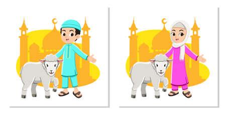Happy muslim boy and girl with Eid Al-Adha sheep Premium Vector Foto de archivo - 146546152