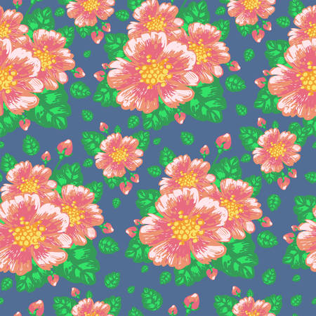 rose hips: Floral seamless pattern with flowers rose hips