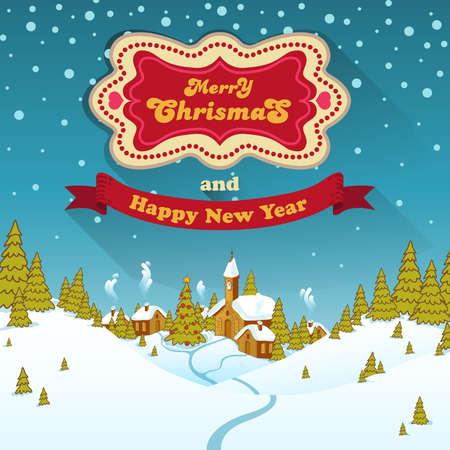 snow drifts: Merry Christmas Landscape Illustration