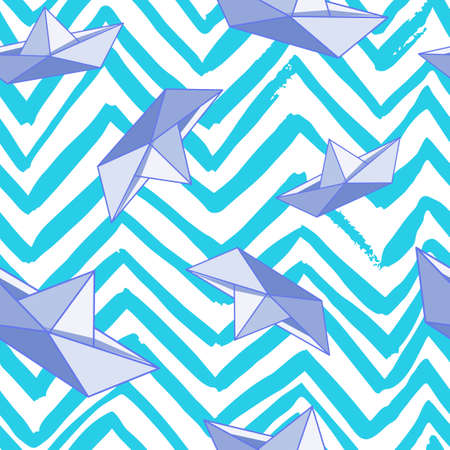 paper boat: abstract pattern with paper boat and zigzag lines Illustration