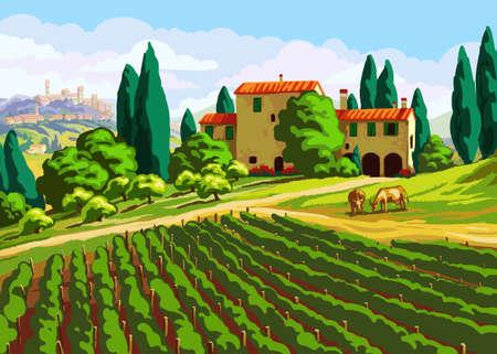 tuscany vineyard: Tuscan landscape with Villa