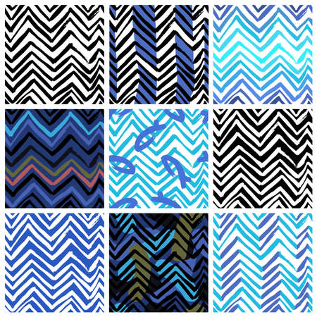 nine: set of nine seamless patterns with zigzag lines