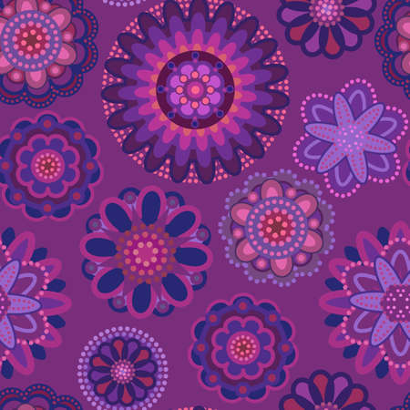 pink and purple pattern with decorative flowers Illustration
