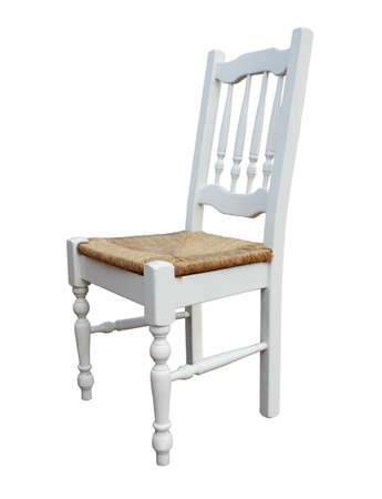 deatil: white wooden chair isolated on white Stock Photo