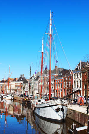 city landscape with ship in Groningen