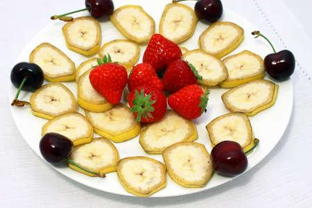 fresh strawberry and banana slices photo