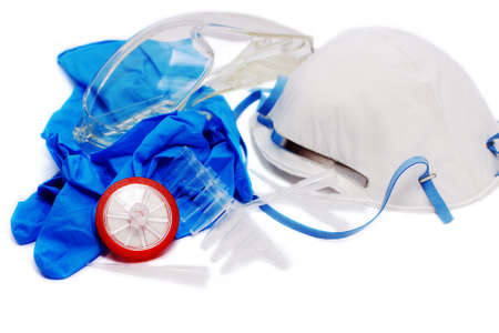 laboratory tools: plastic glasses, filter, gloves, antibacterial mask, tubes and tips Stock Photo