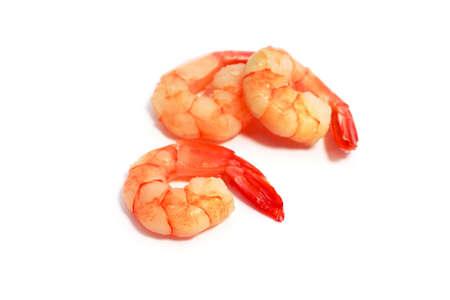 three boiled shrimps isolated on white background photo