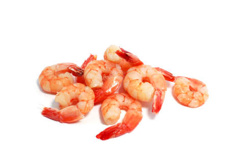 many delicious boiled shrimps on white