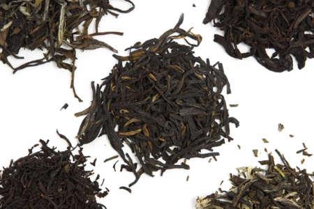 pekoe: black orange pekoe, pu-erh, long leaf black tea, white tea and green tea with jasmine Stock Photo