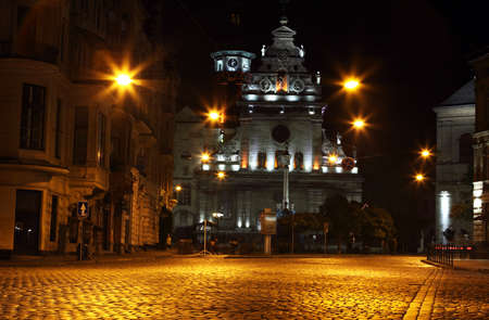lemberg: Bernardine Church in Lviv by night Stock Photo