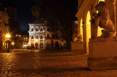 Rynok square in Lviv by night Editorial