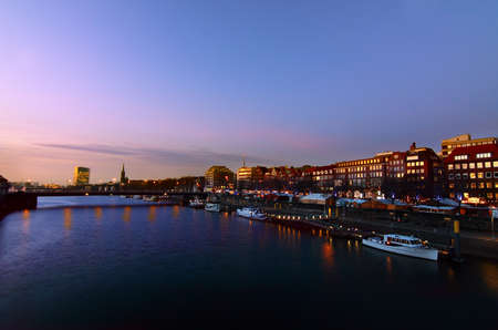 view on river Weser in Bremen in Germany at night
