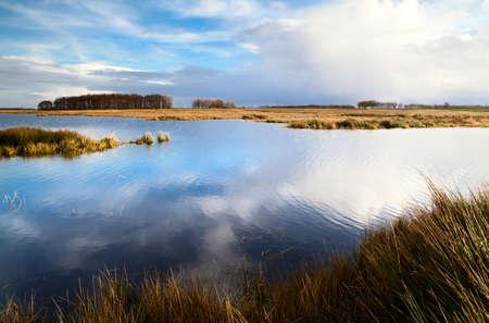 jezior: widok na dzikie jeziora i błękitne niebo z białymi chmurami odbicie w wodzie