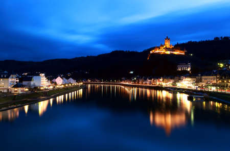 small town Cochem with river and castle at night Stock Photo - 12031073
