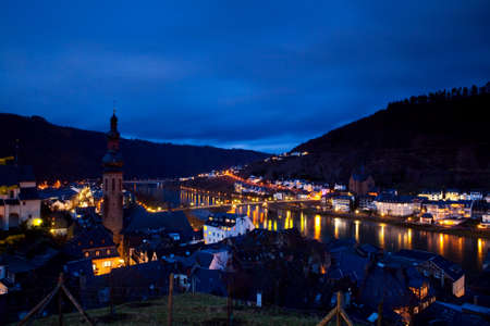 view on Cochem city in Germany at night