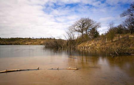 long lake: wild transparent lake with long exposure