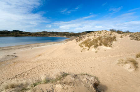 sandy beach with hills close to North sea in Netherlands