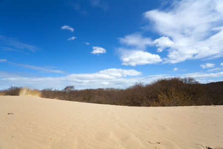 sandy desert and blue sky with white clouds photo